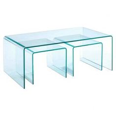 "Set of two glass side tables and one coffee table with a minimalist design.Product: Two side tables and one coffee tableConstruction Material: GlassColor: ClearFeatures:   Contemporary styleSleek and minimalist designLuminous glass Dimensions: 17"" H x 43"" W x 24"" D (coffee table)"