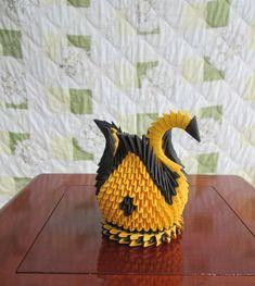 Hermosa 3d Origami cisne oro amarillo y negro por CHOUCHOUGIFTS