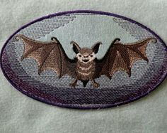 Bat Patch Charcoal Square by TrippingBalls on Etsy