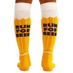 Yakety Yak! Knee Socks - Will Run For Beer (Amber/Brown/White)   Running Knee Socks   Runners Knee Socks