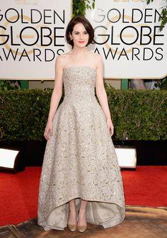Michelle Dockery in Oscar De La Renta. 2014 Golden Globes.