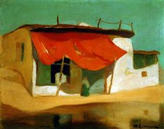 Economou Michael - Red Awning, ca 1927 - 1928 Oil on pasteboard, 45 x 56 cm Greek Paintings, Contemporary Modern Art, Oil Painting Landscape, Painting, Oil Painting, Illustration Art, Visual Art, Art Inspiration, Name Paintings