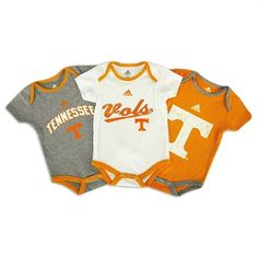 Tennessee Volunteers Infant Boys 3-Piece Fold Over Neck Bodysuit Set  All my daddy's grandchildren can expect to wear Vols outfits. Its a family thang.