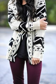 Aztec cardigan for Fall. click to save on Fall fashion http://stackdealz.com/Fashion-Discounts