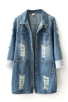 Lapel Ripped Single-Breasted Pockets Denim Coat