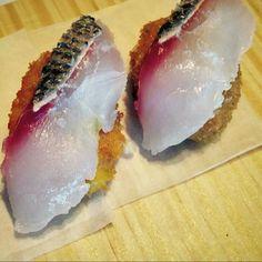 Croquetas de calabaza con sashimi de lubina. Restaurante Alborada, Ivan Dominguez