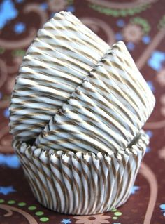 Gold and White striped Cupcake Liners (50). $3.25, via Etsy.