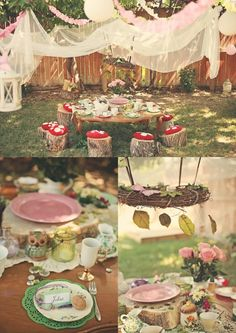 Fairy tea party: I love the toadstools!