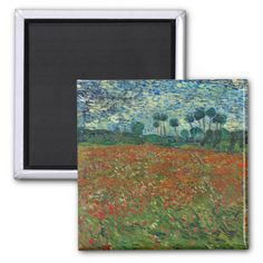 Poppy Field by Vincent Van Gogh Refrigerator Magnets