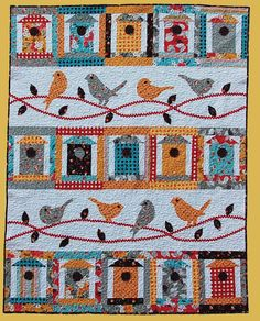 Primitive Folk Art Quilt Pattern - Free as a Bird Applique Quilt Pattern on Etsy, $9.95