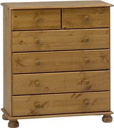 Non Branded 10221334 - Cómoda de madera de pino con 4 cajones grandes y 2 cajones pequeños  84euros