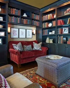 bookshelf ideas, DIY bookshelf decorating ideas, bookshelves for small space, unique bookshelves - Small Home Libraries, Home Library Rooms, Home Library Design, Cozy Home Library, Bookshelves For Small Spaces, Creative Bookshelves, Bookshelf Ideas, Bookshelf Decorating, Decorating Ideas