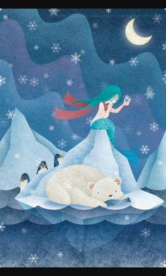 Mermaid with penguins and polar bear