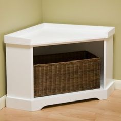 Corner storage bench idea. I would close the front and make the top flip up... seating for reading nook and toy storage!