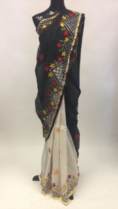 Chanderi Cotton Saree - Black & Off White