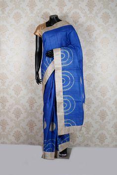 royal #blue &  metallic #cream pure #tussar silk fine #saree with metallic cream border -SR12526