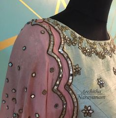 Beautiful blouse with floral design hand embroidery mirror work. 22 September 2017