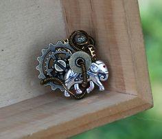 Steampunk Ring Wire Wrap Ring Elephant Good Karma Adjustable Artisan Ring #Jeanninehandmade #Wrap