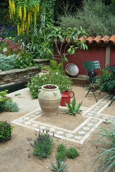 Creating an outdoor patio Southwestern or Mediterranean style with sand and tiles, using water-wise succulent plants and drought tolerant herbs such as lavender Lavandula, with raised beds of perennial flowers, Laburnum tree in bloom, low wall, patio furniture, ornamental urn