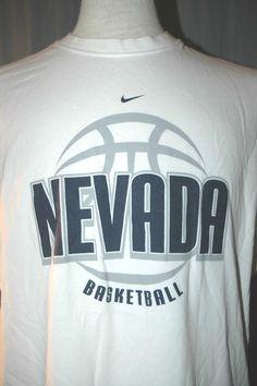University of Nevada Basketball Wolf Pack Adult X-Large White T-Shirt (XL NCAA) #Nike #BasicTee