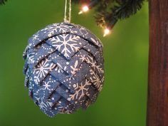 Pine Cone Christmas Ornament- Snowflake Ribbon in light denim by @kikiverde on Etsy. $20  #christmas #ornament #decoration #gift