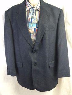 Stafford Men Sports Coat 44R Silk Wool Blue Blazer 2 Button Classic Houndstooth #Stafford #TwoButton