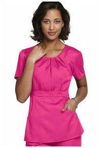 Landau Tencel button front scrub top. - Scrubs and Beyond #pink, #scrubs, #uniforms, #nurse
