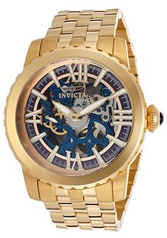 Invicta Specialty Mechanical Silver-Tone & Blue Skeleton Watch - $234.99