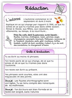 Petite rédaction sur l'automne Cycle 3, Bullet Journal, Writing, Education, French, Maths Tricks, Fall, Kitchens, French Language