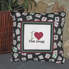 I Love Mah Jongg pillow www.mrsstitchesdesigns.etsy.com