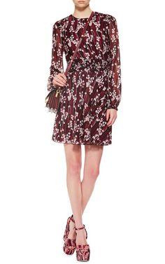 Burgundy Silk Printed Mini Dress by Giamba Now Available on Moda Operandi