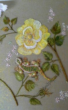Beautiful embroidery and a spectacular beaded lizard by Rose Andreeva
