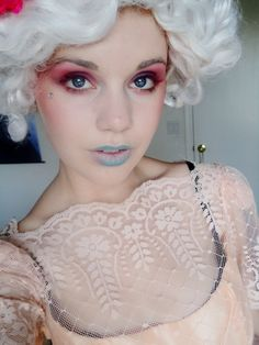 Effie Trinket makeup. Got to get my Capitol couture on for the Catching Fire premiere.