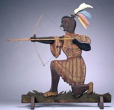 Polychrome Carved Pine and Tin Indian Weathervane, Maine, late 19th century.