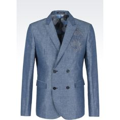 Emporio Armani Double-breasted Jacket ($975) ❤ liked on Polyvore featuring men's fashion, men's clothing, men's outerwear, men's jackets, azure and mens double breasted jacket