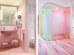 30 Adorable Bathrooms with Vivid Colors - love the curves!
