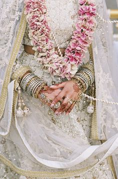 Pink Wedding Garland | Preena + Matt | South Asian Wedding Blog | Think Shaadi