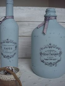 Old Glass Bottles, Bottles And Jars, Mason Jars, Decorate Bottles, Bottle Art, Vodka Bottle, Decoupage, Craft Projects, Recycling