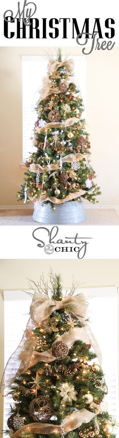 Natural Christmas Tree Decor with burlap ribbon.