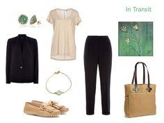 """Whatever's Clean 13"" Travel Capsule Wardrobe in Green, Navy and Beige"
