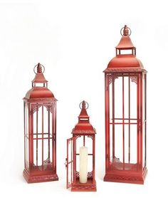 Bring beauty and the fun of Christmas lanterns to your home with the Melrose Lantern - Set of Made of glass and metal, these classic lanterns are an elegant shade of red, making them perfect for the holidays. Outdoor Candle Lanterns, Small Lanterns, Metal Lanterns, Rustic Lanterns, Lantern Set, Red Lantern, Red Candles, Pillar Candles, Classic Lanterns