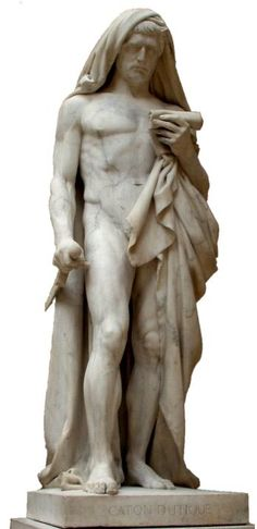 "Jean-Baptiste Romand & François Rude: ""Caton d'Utique lisant le Phédon avant de se donner la mort"", (Cato of Utica reading the Phedo before comitting suicide), Marble, 1840, The work was started by Romand in 1832 and carried on by Rude after Romand's death in 1835. Dimensions	H. 2.34 m (7 ft. 8 in.), W. 77 cm (30 ¼ in.), D. 82 cm (32 ¼ in.), Current location: Louvre Museum."