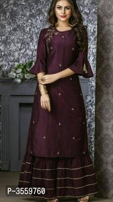 Beautiful Kurti with sharara. Embellished with gota work and embroidery - Salvabrani Sharara Designs, Kurta Designs Women, Kurti Designs Party Wear, Indian Gowns Dresses, Pakistani Dresses, Indian Outfits, Bollywood Dress, Sarara Dress, The Dress