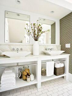 Open vanities make this master bath feel spacious. More ideas for master bathrooms: http://www.bhg.com/bathroom/type/master/?socsrc=bhgpin092812openvanitymasterbath