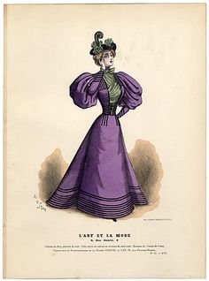 L'Art et la Mode 1895 N°47 Complete with colored engraving by Marie de Solar, Tchoumakoff - more small waists and puffy sleeves during Londonderry times