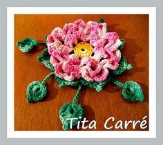 'Tita Carre' Tita Carré - Agulha e Tricot : Big Flor de Junho com Pétalas sobrepostas em crochet