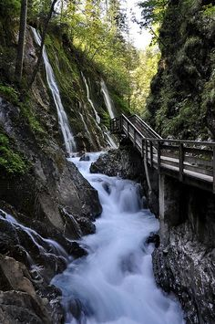 Wimbachschloss - photo by Binderhausl (Yoshi Keller), via Flickriver;  at Berchtesgadener Land National Park, Bavaria, Germany;  Wimbachklamm Gorge or Wimbachtal Valley is a kind of slot canyon. It has a well-secured path to follow to see this spectacular waterfall plunging into the gorge.