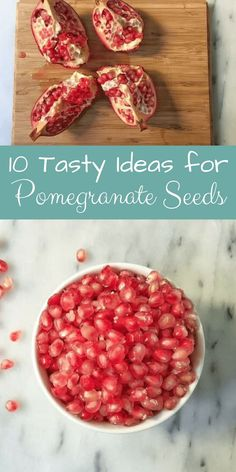 10 Tasty Ideas for Pomegranate Seeds. Pomegranates are almost in season, so be ready with a few ideas to use the arils. They are loaded with flavor and oh so nutritious! #momskitchenhandbook #pomegranate #pom #pomseeds #pomarils