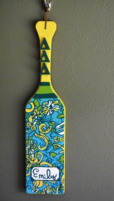 Tri Delta Lilly Pulitzer Inspired Sorority by ThePatternedPaddle, $35.00