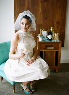 Short wedding dress by Pure Magnolia, accessories by The Borrowed Collection.